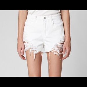Blank NYC High Waist White Ripped Denim Shorts NWT